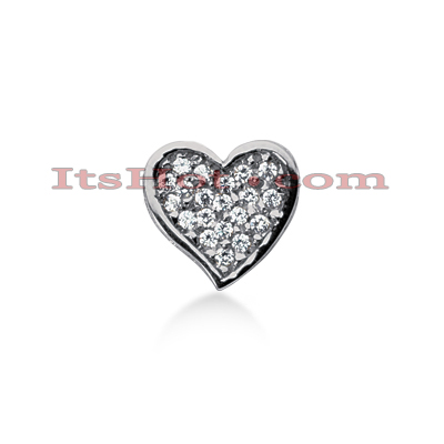 14k Gold Round Diamond Pave Heart Pendant 0.53ct Main Image