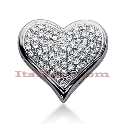 14k Gold Round Diamond Pave Heart Pendant 1.28ct Main Image