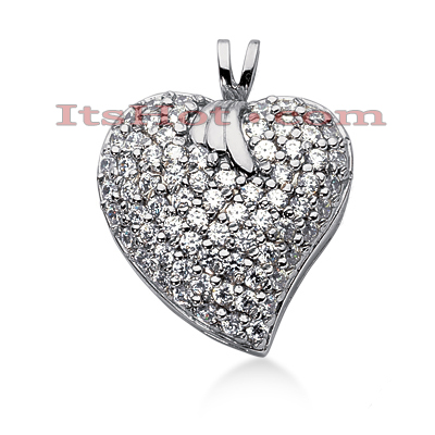 14k Gold Round Diamond Pave Heart Pendant 1.44ct Main Image