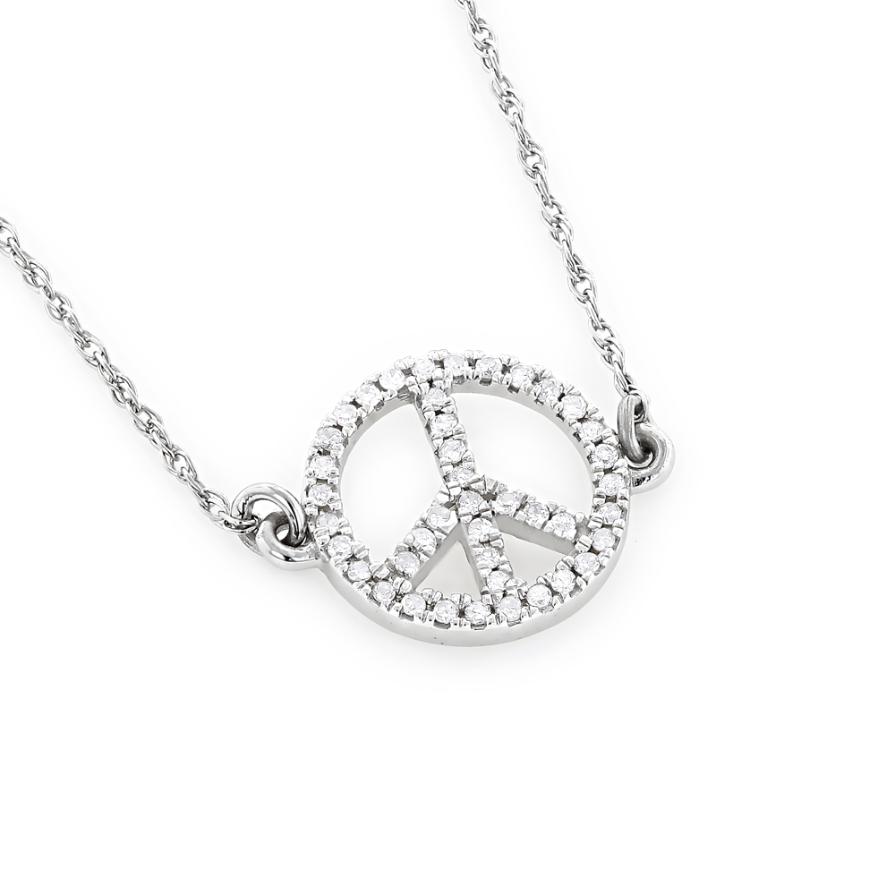 14k Gold Round Diamond Peace Sign Ladies Necklace 0.1ct White Image