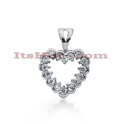 14k Gold Round Diamond Scalloped Heart Pendant 0.48ct Main Image