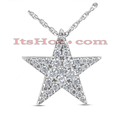 14K Gold Round Diamond Star Pendant 0.99ct Main Image