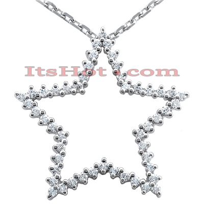 14K Gold Round Diamond Star Pendant 1ct Main Image