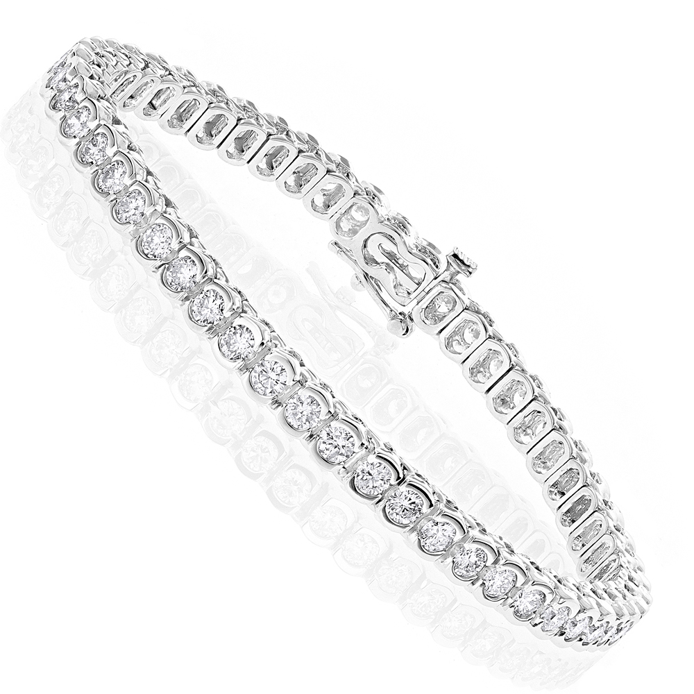 14K Gold Round Diamond Tennis Bracelet  4.70ct White Image