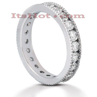Thin 14K Gold Round Diamonds Eternity Band 1.54ct Main Image