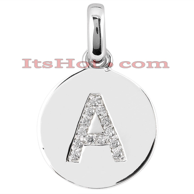 14k gold round diamonds initial pendant 013ct mozeypictures Gallery