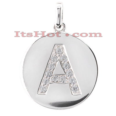 14k gold round diamonds initial pendant 039ct mozeypictures Gallery