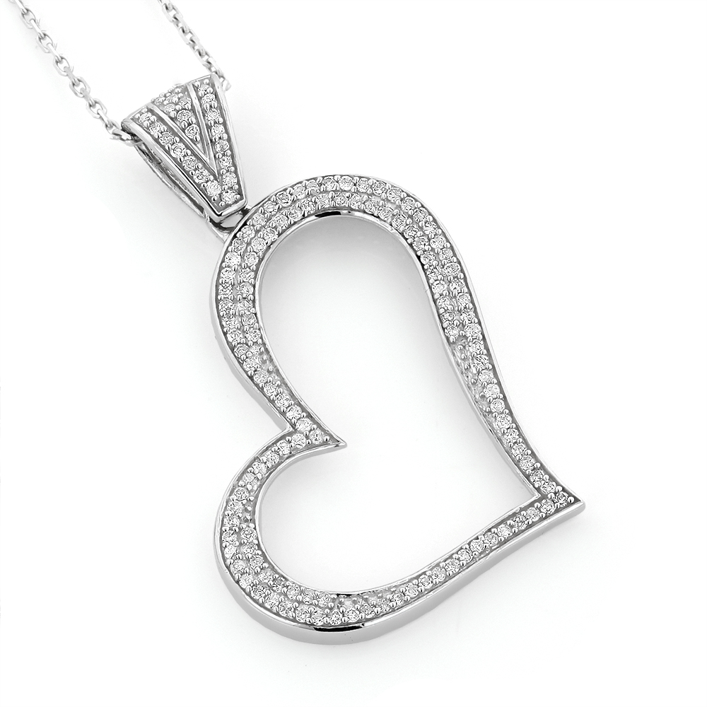 14K Gold Round Pave Diamond Heart Pendant 0.5ct White Image