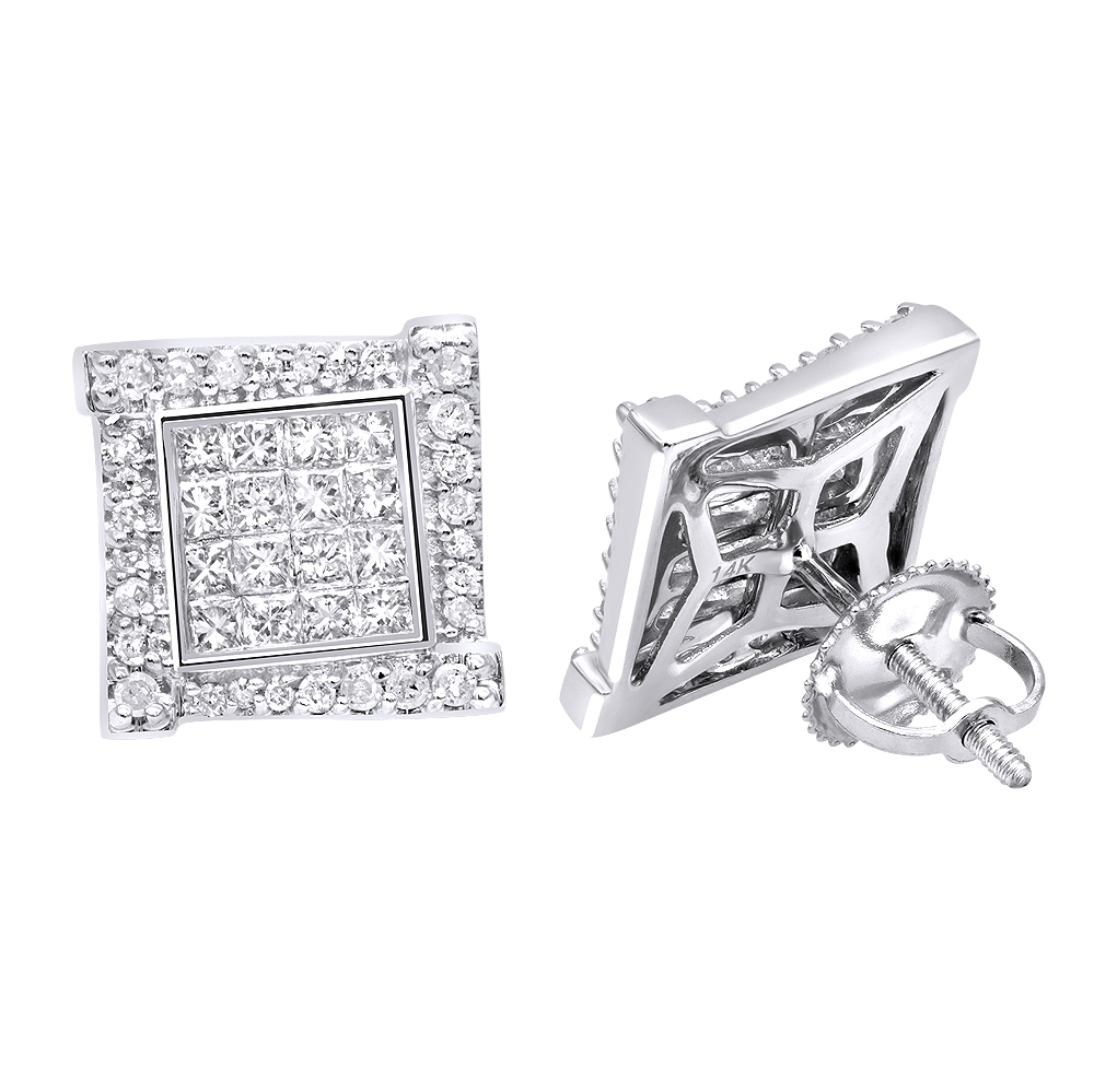 14k Gold Round & Princess Cut Diamond Earrings Square Studs by Luxurman White Image