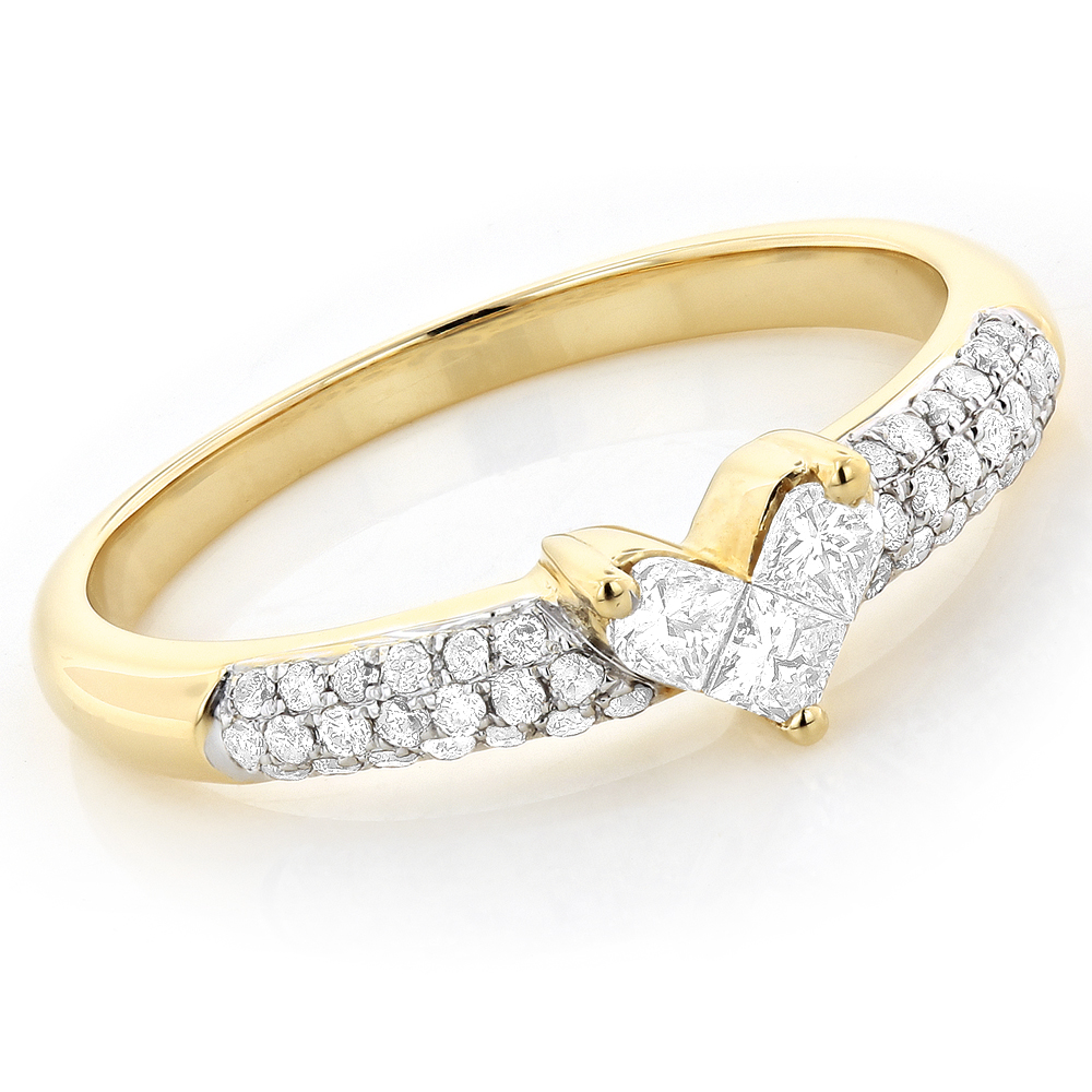 Unique 14K Gold Round & Princess Cut Diamond Heart Ring .56ct Yellow Image