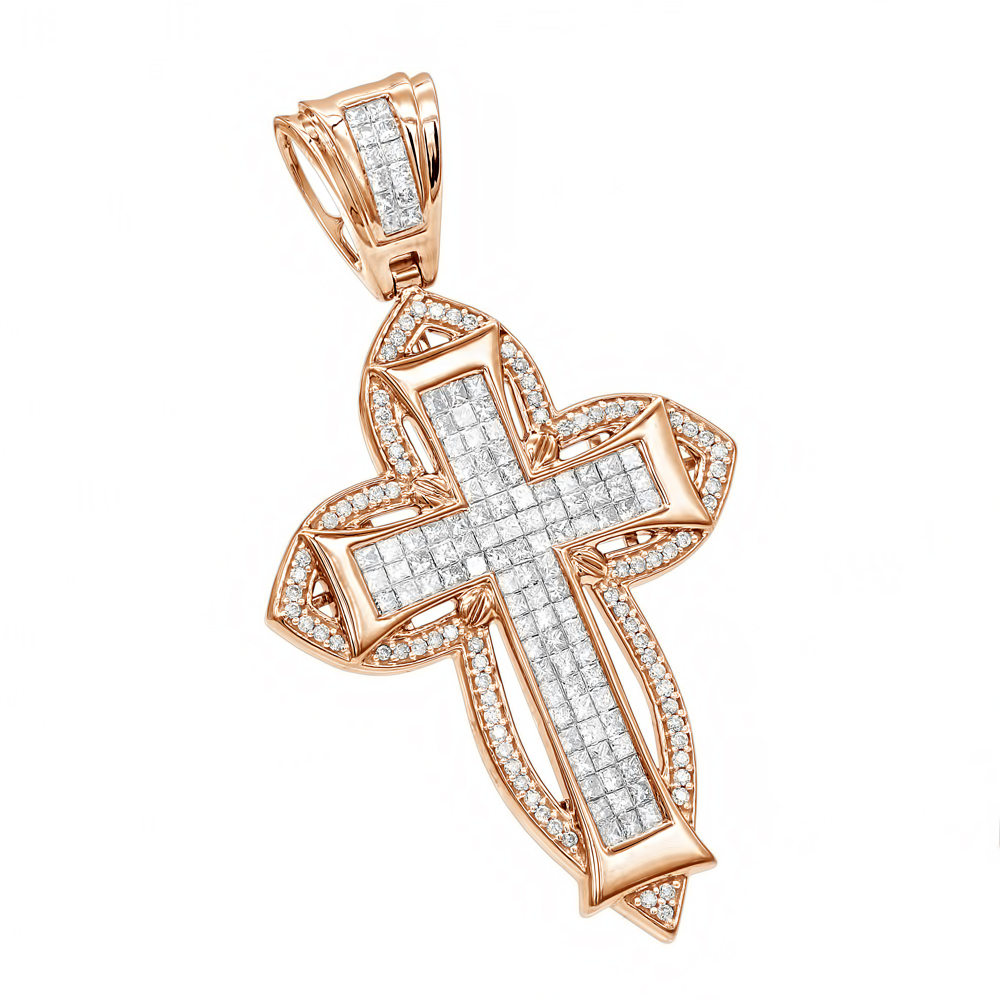 14K Gold Round Princess Diamond Cross Pendant 2.14ct Rose Image