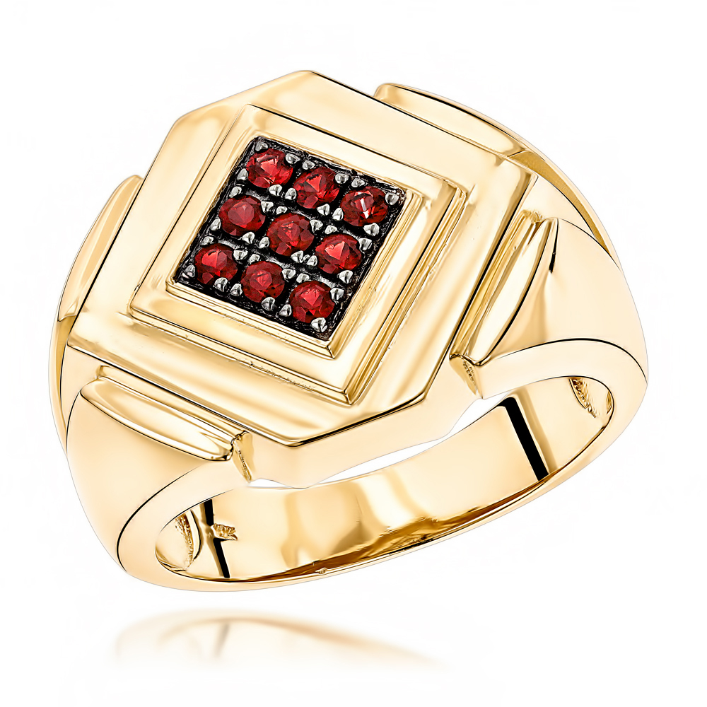 14K Gold Ruby Mens Ring by Luxurman Yellow Image