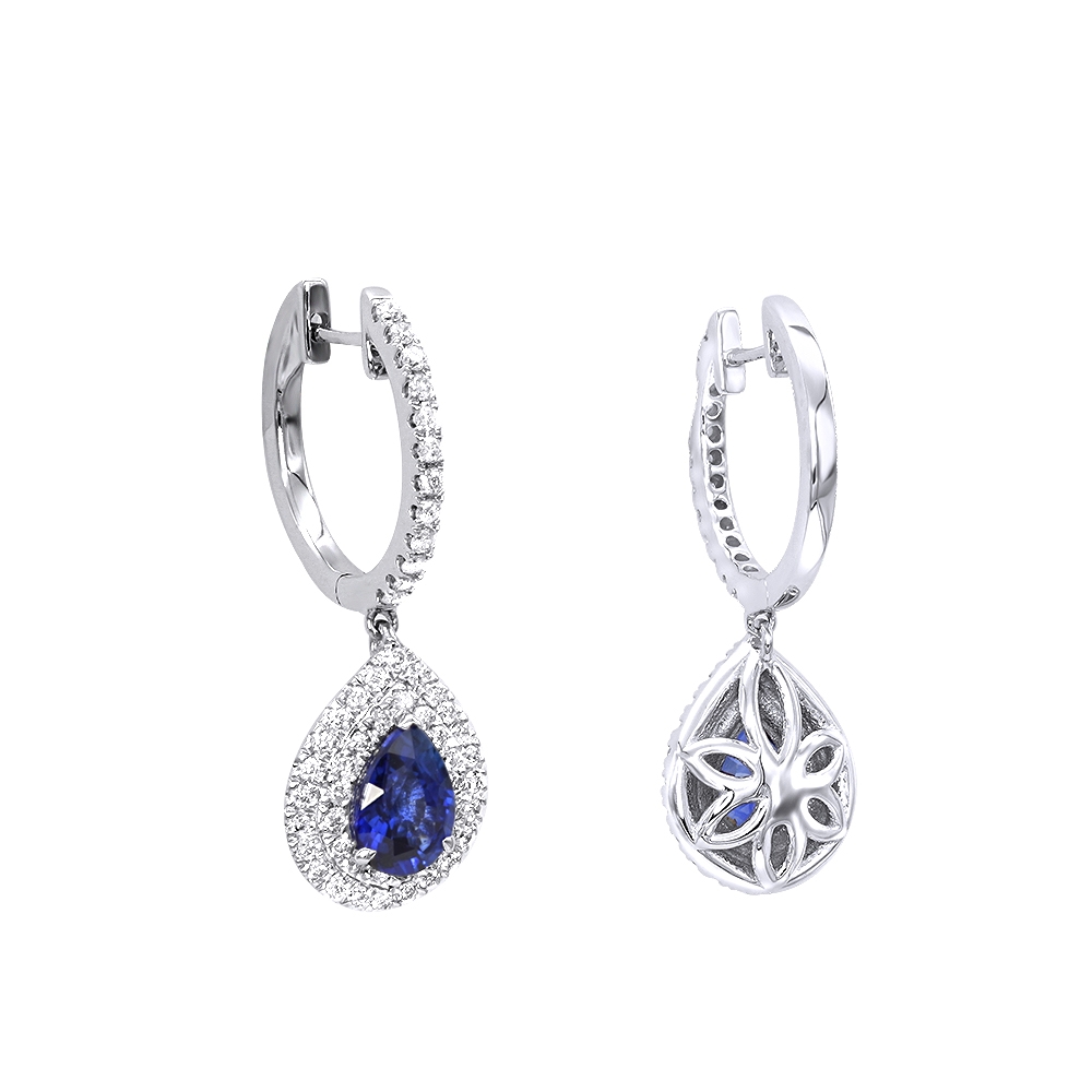 14K Gold Sapphire Diamond Pear Shape Drop Earrings for Women by Luxurman White Image