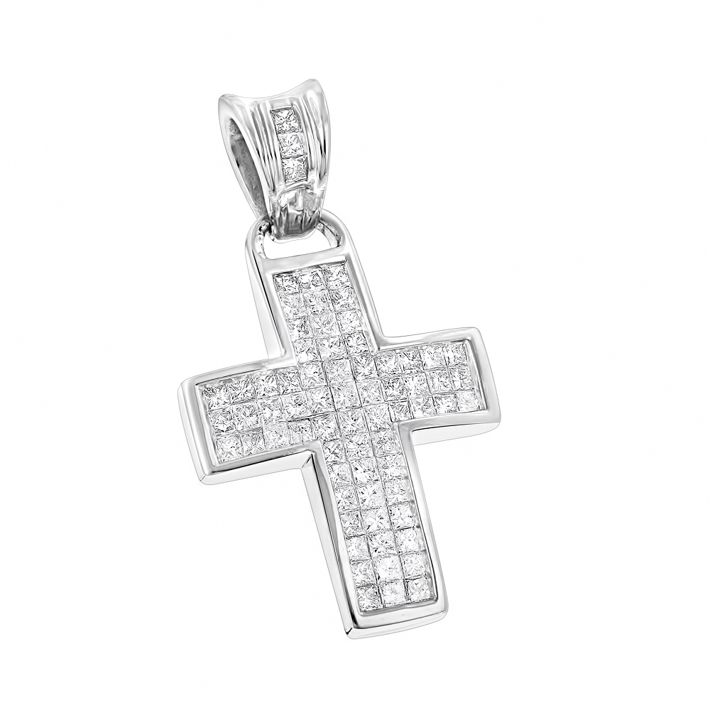 Unique 14K Gold Small Diamond Cross Pendant 1.1ct Princess Cut Diamonds White Image
