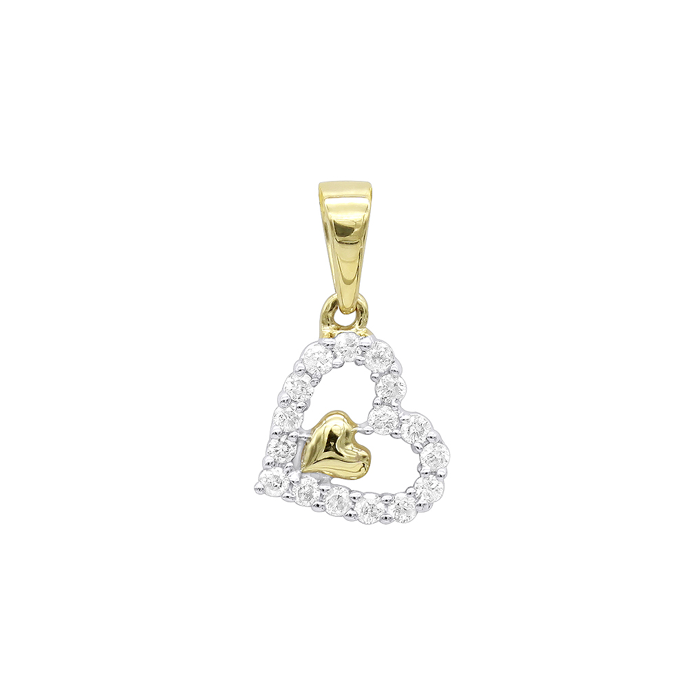 14K Gold Small Diamond Heart  Pendant for Women by Luxurman Yellow Image