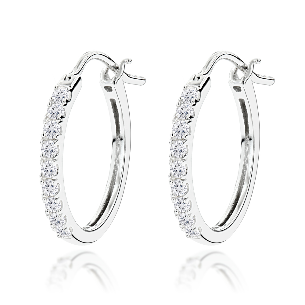 14K Gold Small Diamond Hoop Earrings 0.21ct White Image