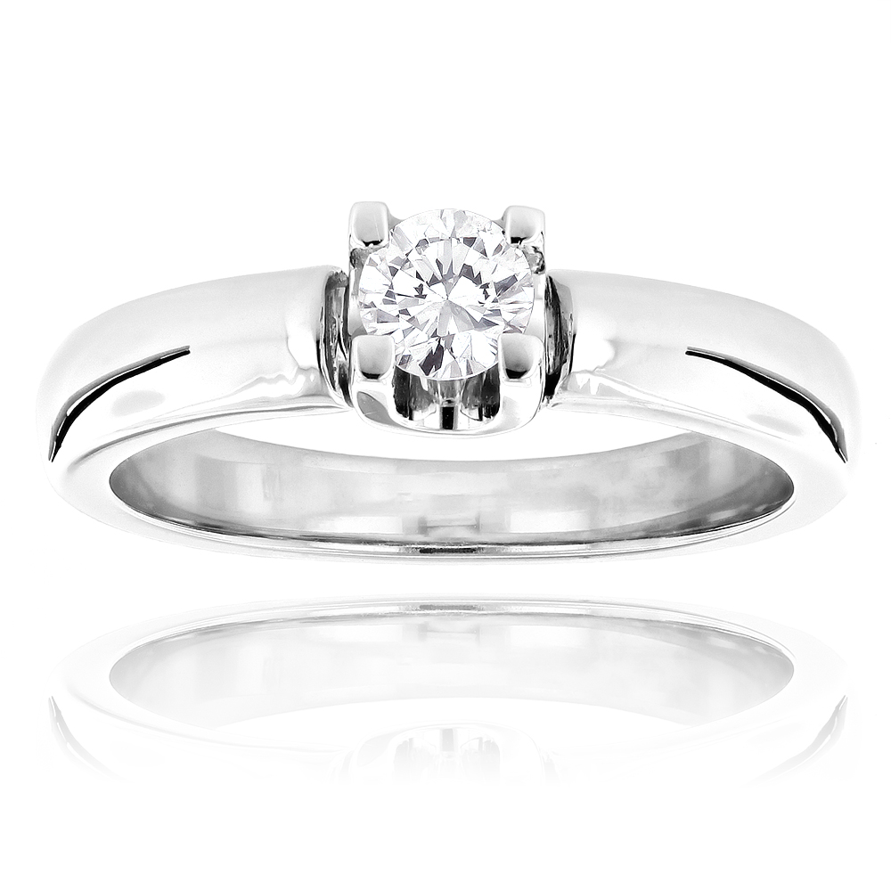 14K Gold Round Diamond Solitaire Engagement Ring For Cheap 0.2ct White Image