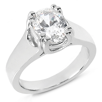 14K Gold Solitaire Engagement Ring 0.25ct 3.1mm Main Image