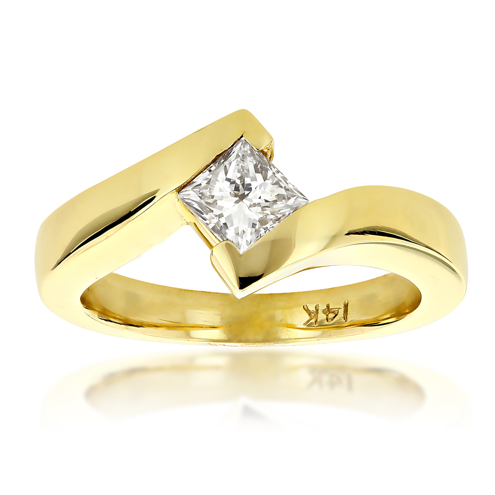 Classy Princess Cut Diamond Solitaire Engagement Ring 0.4ct 14k Gold Yellow Image