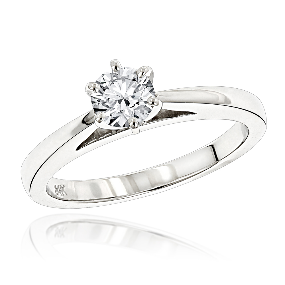 14K Gold Solitaire Engagement Ring 0.40ct White Image