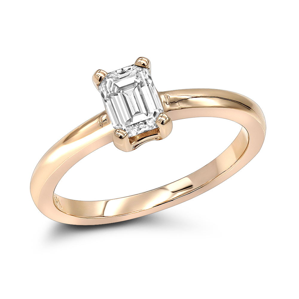 14K Gold Emerald Cut Diamond Solitaire Engagement Ring 0.5ct Rose Image