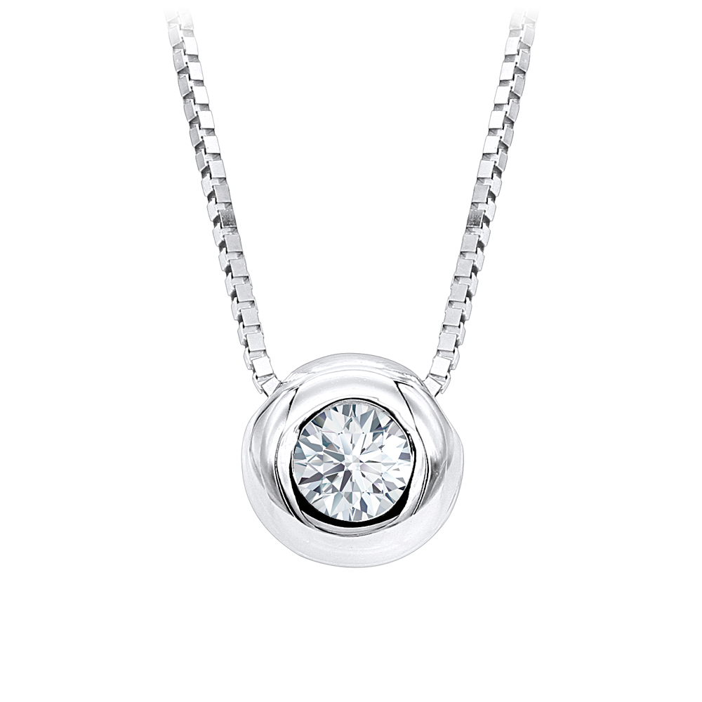 14K Gold Solitaire Round Diamond Necklace Ladies Pendant with chain 0.25ct White Image
