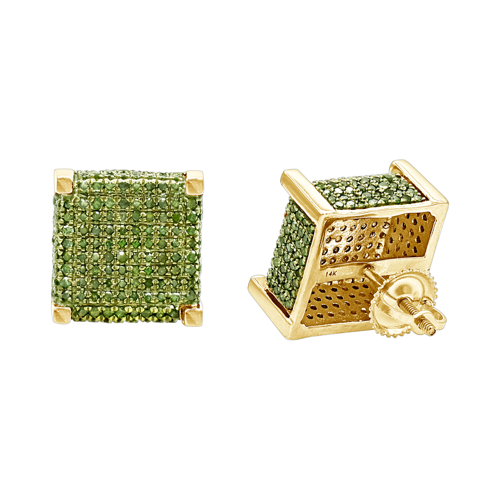 14K Gold Square Green Diamond Stud Earrings 1.3ct by Luxurman Yellow Image