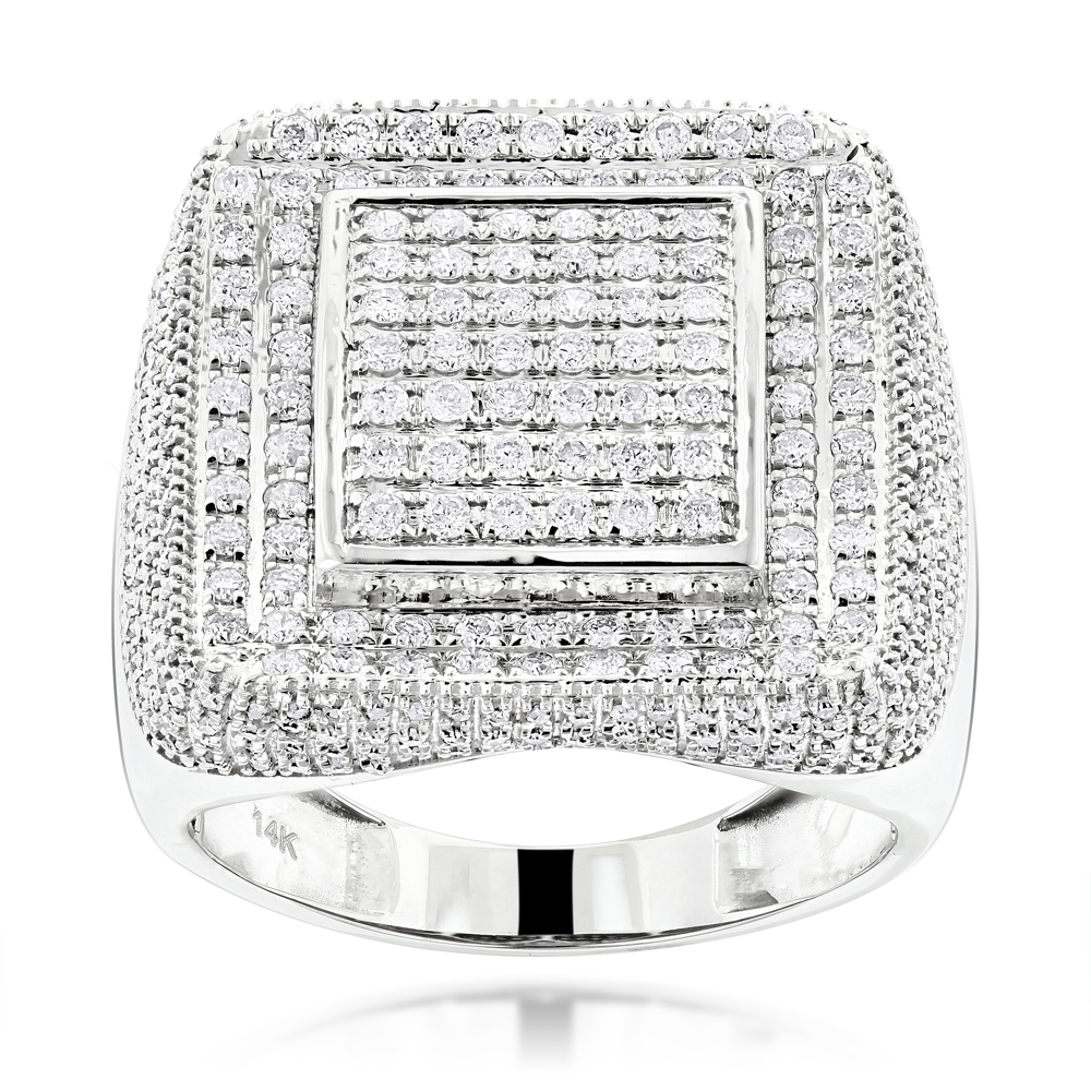 14K Gold Square Mens Diamond Ring 2 ct Hip Hop Rings White Image
