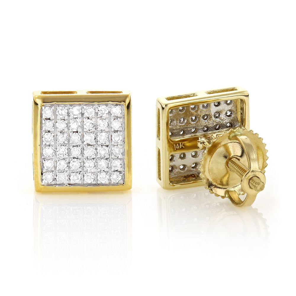 14K Gold Square Shaped Diamond Stud Earrings 0.41ct Yellow Image