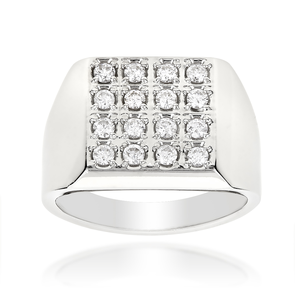 14K Gold Square Shaped Mens Round Diamond Ring 0.88ct White Image