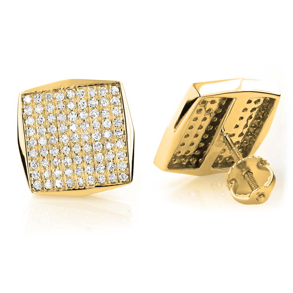 14K Gold Square Shaped Round Diamond Pave Earrings Studs 0.94ct Yellow Image