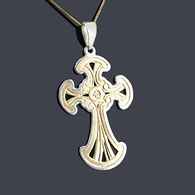 14K Gold Sterling Silver Cross Pendant 0.01ct 14K Gold Sterling Silver Cross Pendant 0.01ct