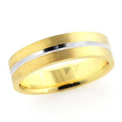 14K Gold Stripe Wedding Band for Men 6mm