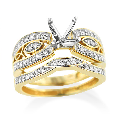 14K Gold Tacori Style Diamond Bridal Sets Engagement Ring & Band 0.5ct Main Image