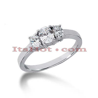 14K Gold Three Stone Diamond Engagement Ring 0.55ct