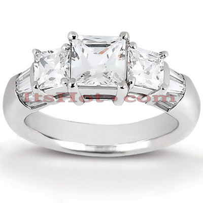 14K Gold Three Stone Diamond Engagement Ring 0.82ct Main Image