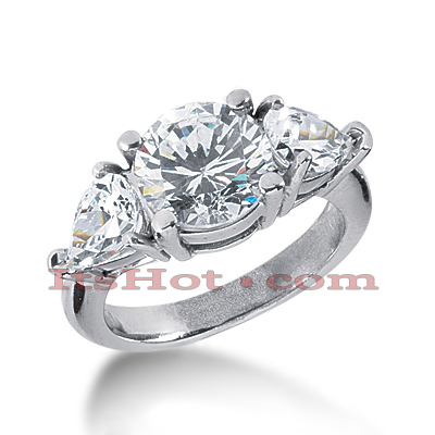 14K Gold Three Stone Diamond Engagement Ring 4.50ct