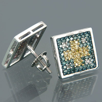 14K Gold Tri-color Round Diamond Stud Earrings 0.76ct Main Image