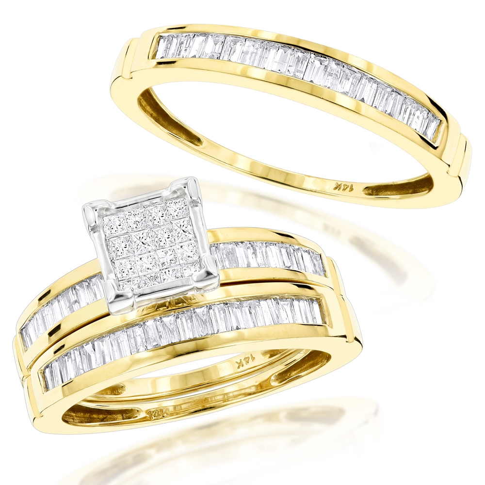 c2cfe35520f6c2 14K Gold Trio Diamond Engagement Ring Set 1.60ct Yellow Image
