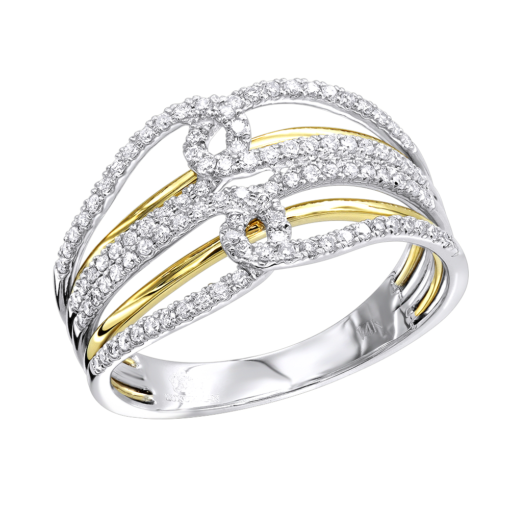 14K Gold Two Tone Diamond Cocktail Ring for Women 0.4ct by Luxurman White Yellow Image
