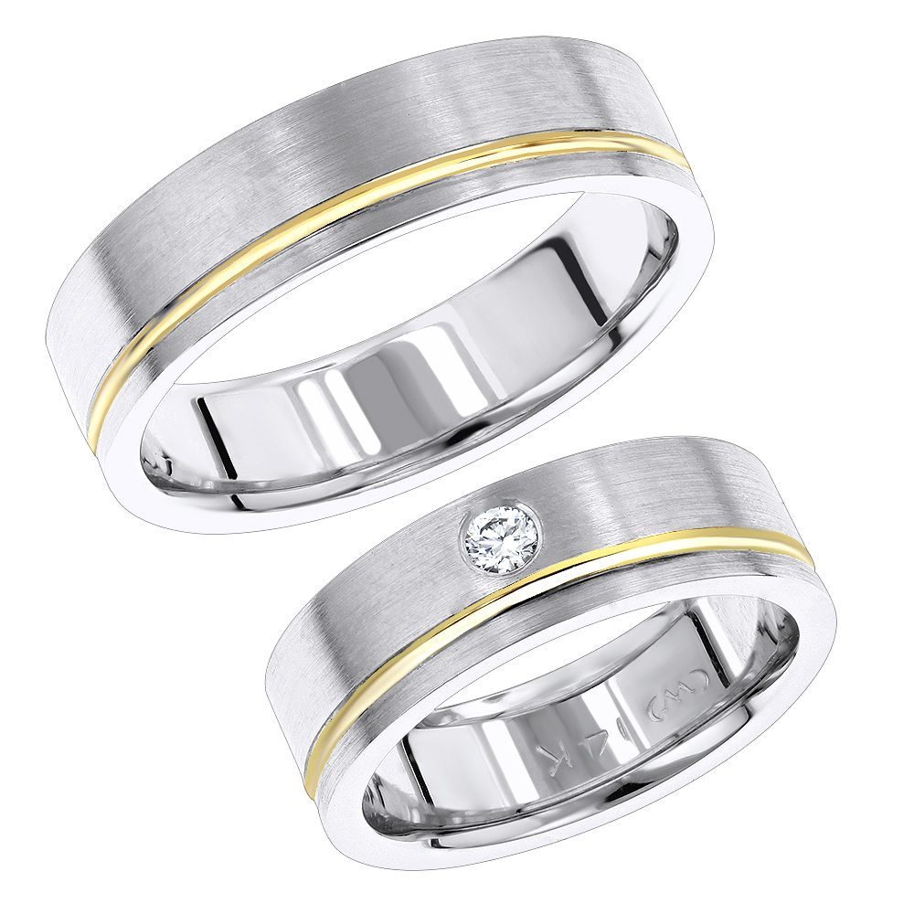 14K Gold Two Tone His and Hers Diamond Wedding Bands Set by Luxurman White Image