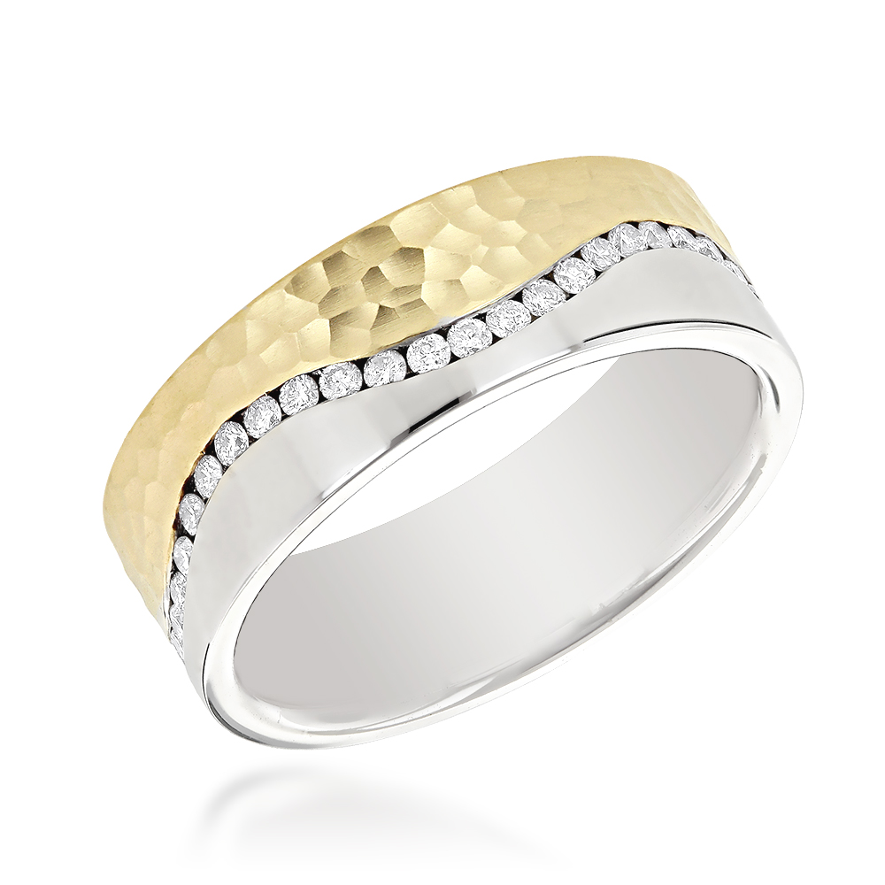 14K Gold Two Tone Mens Diamond Eternity Band Designer Ring by Luxurman Two Tone Image