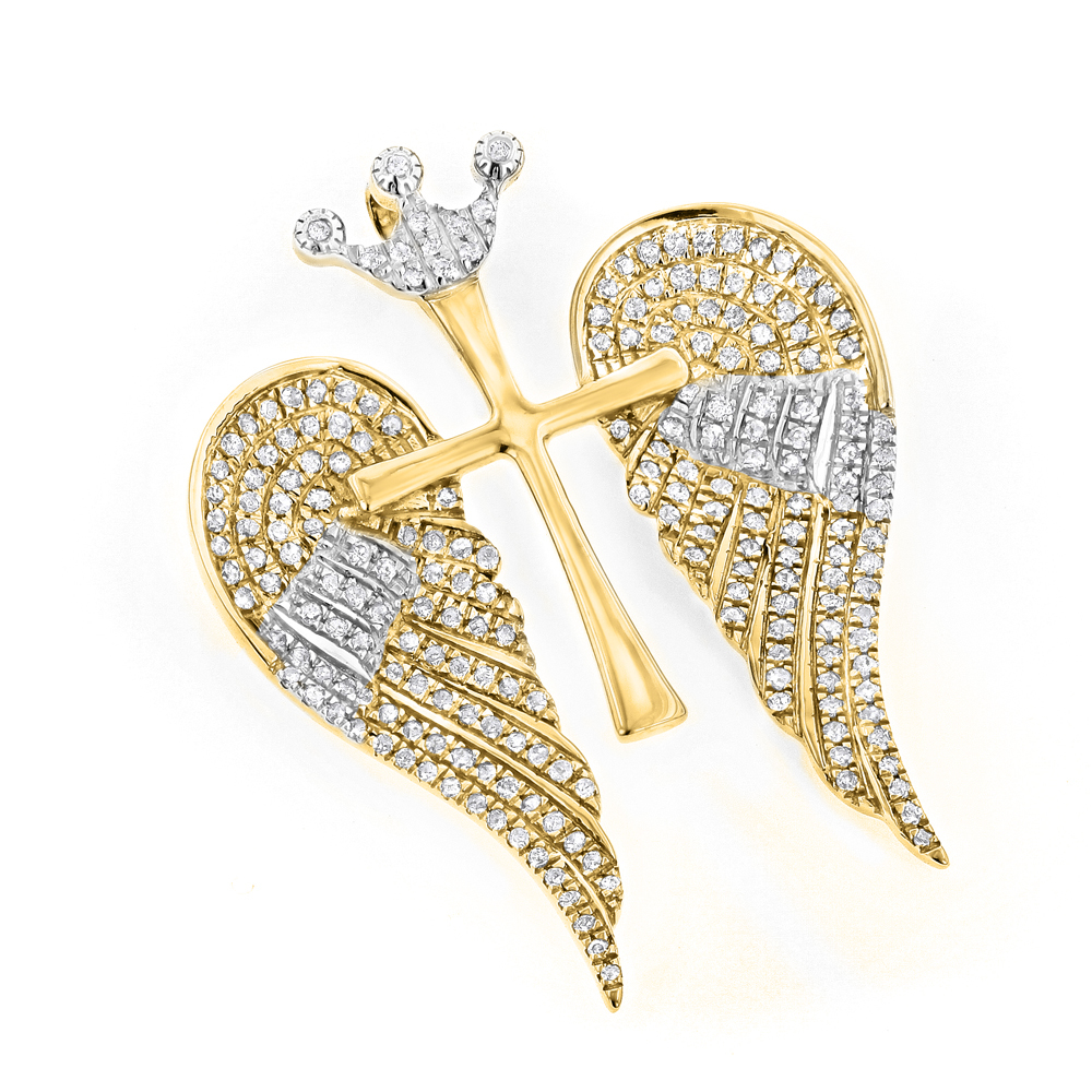 14K Gold Unique Angel Wings Diamond Cross Pendant with Crown 0.4ct White Yellow Image