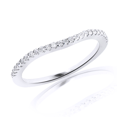 Ultra Thin 14K Gold Unique Diamond Engagement Band 0.12ct Stackable Ring
