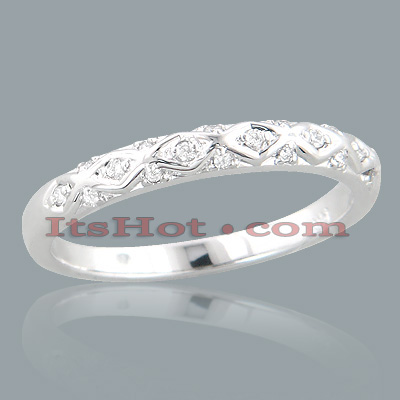 Thin 14K Gold Unique Diamond Engagement Band 0.13ct