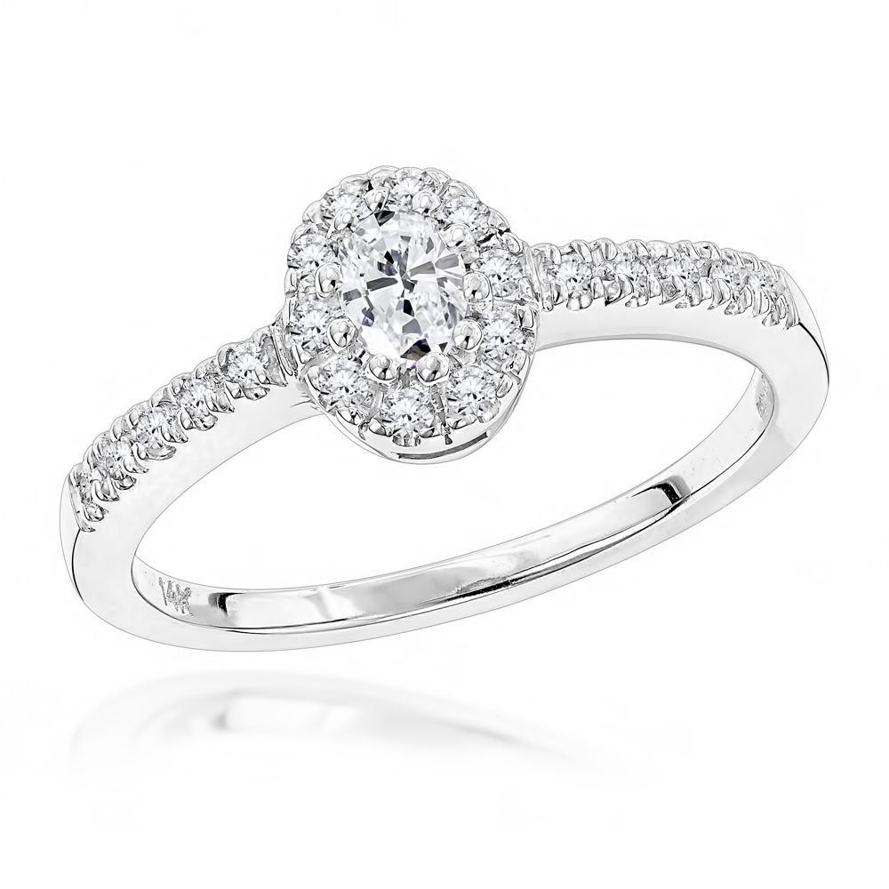 14K Gold Unique Diamond Engagement Ring 0.45ct