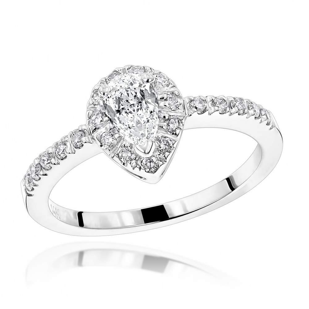 Affordable and Unique Pear Cut Diamond Engagement Ring Halo Design 0.5ct White Image