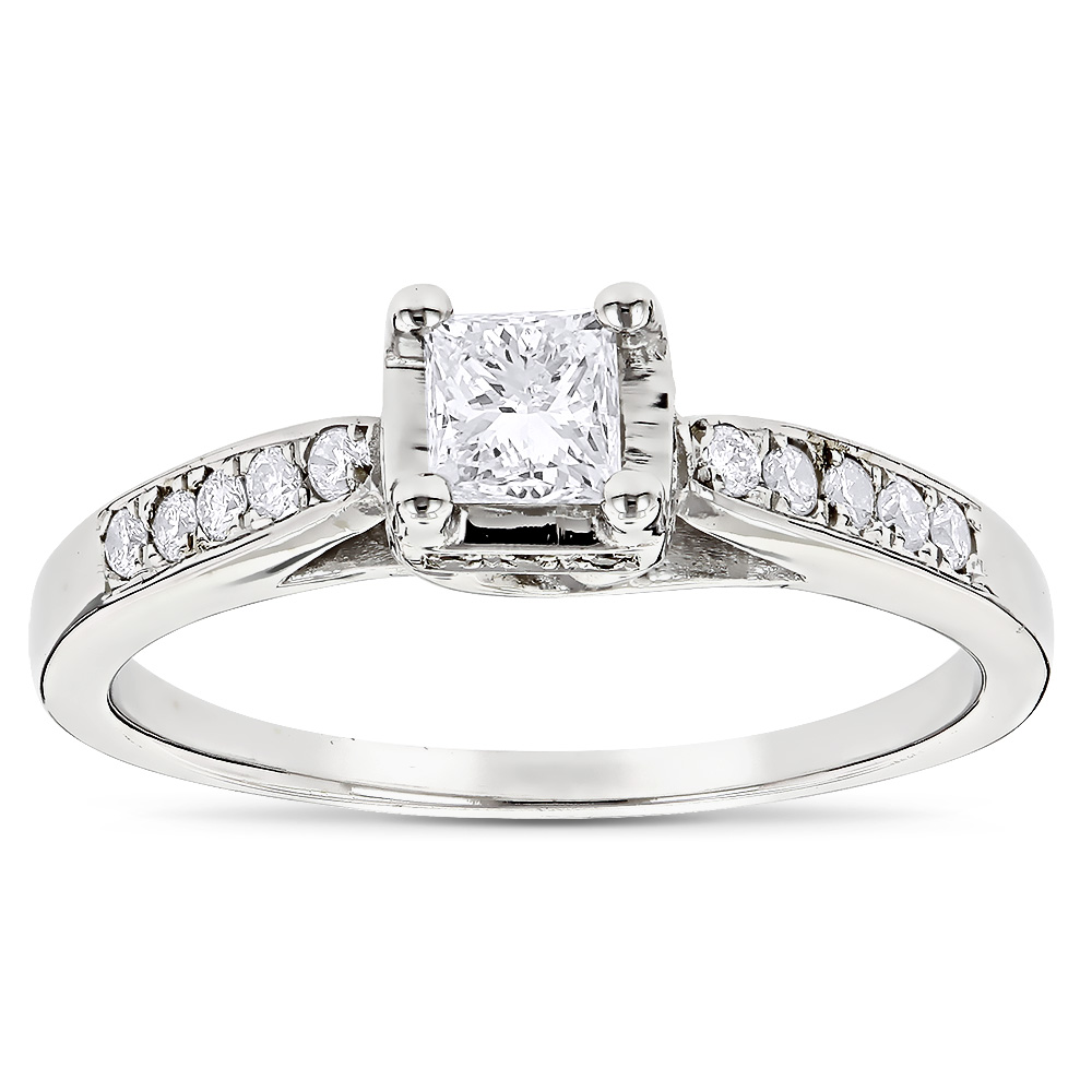 14K Gold Unique Diamond Engagement Ring for Cheap 0.61ct White Image