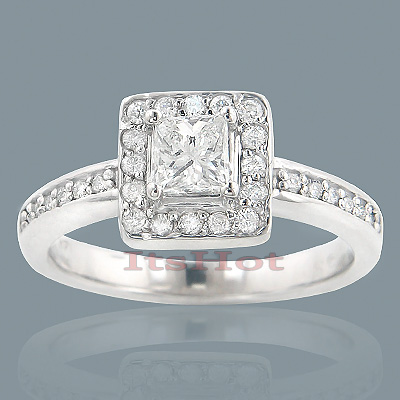 Affordable Halo Round Princess Cut Diamond Engagement Ring 0.68ct 14k Gold Main Image