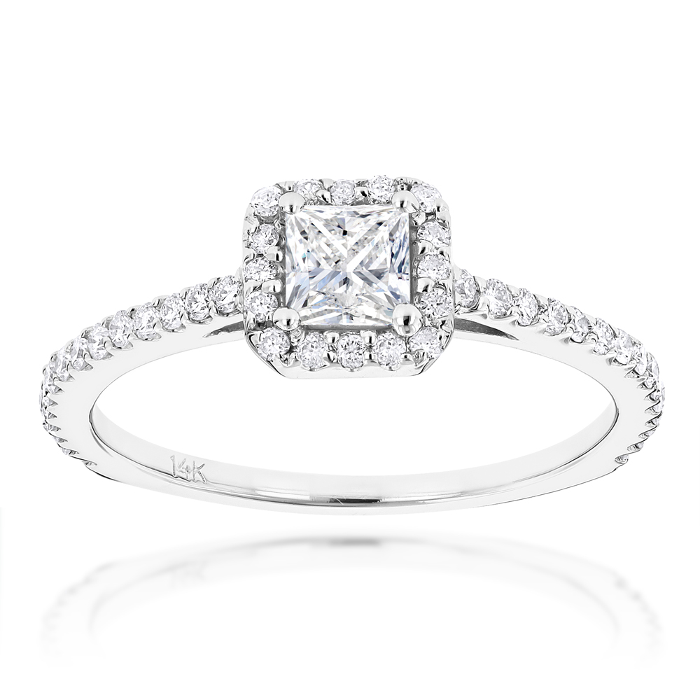 14K Gold Unique Diamond Engagement Ring 0.88ct Princess & Round Diamonds
